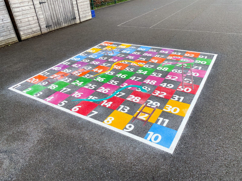 Colindale-Primary-School-Snakes-and-Ladders-Playground-Marking