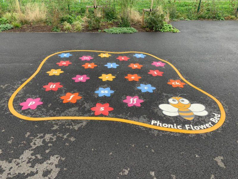 Hackbridge-Primary-School-Phonic-Flower-Bed-Playground-Marking-Surrey
