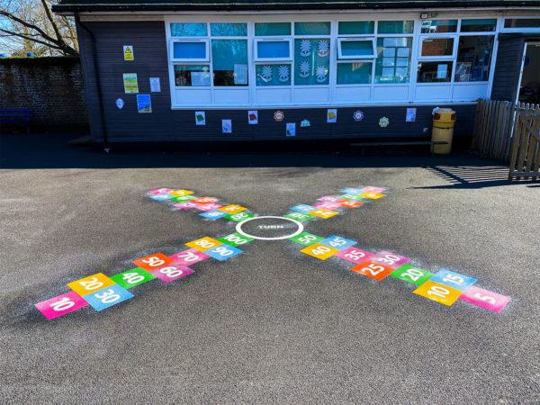 Kennington-CE-Academy-4-Way-Hopscotch-Playground-Marking
