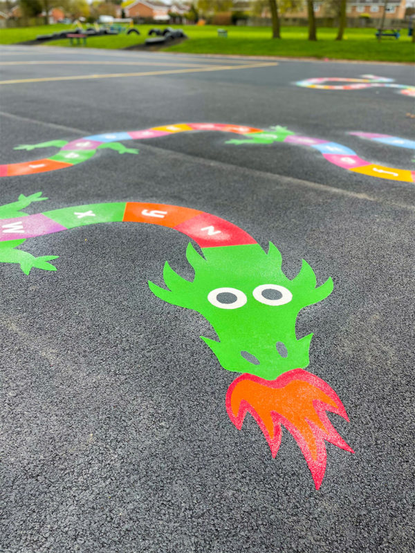 Perton-Primary-Academy-A-Z-Dragon-Playground-Marking