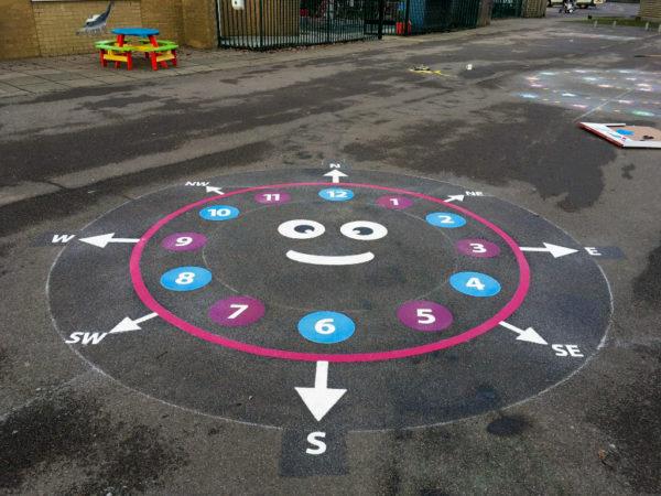 Smiley-Compass-Clock-Playground-Marking