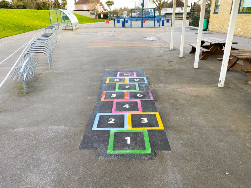 Weald-Rise-Primary-School-Outline-Hopscotch-Playground-Marking-Middlesex