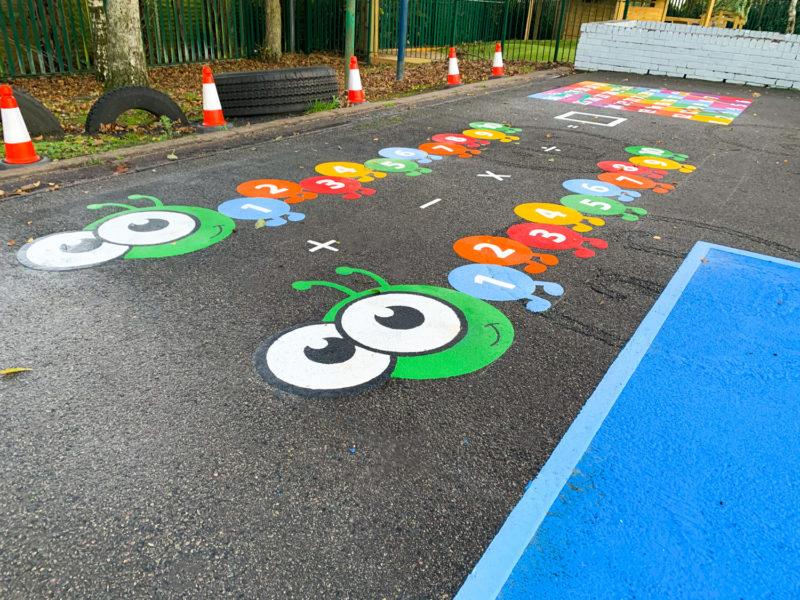 Whitgreave-Primary-School-Maths-Caterpillar-Playground-Marking-West-Midlands