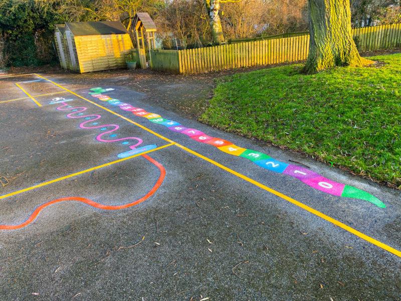 Wymondham-C-of-E-Primary-School-0-20-Snake-Playground-Marking-Leicestershire
