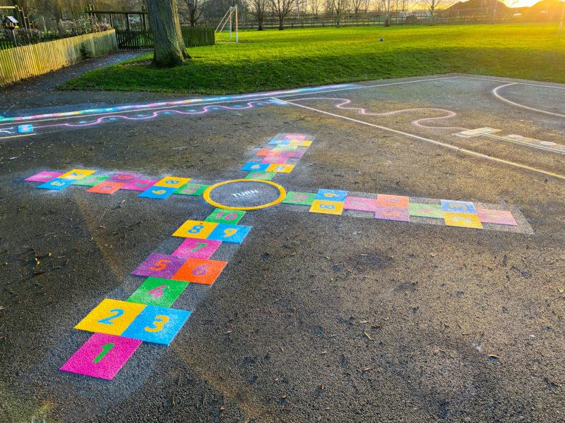Wymondham-C-of-E-Primary-School-4-Way-Hopscotch-Playground-Marking-Leicestershire