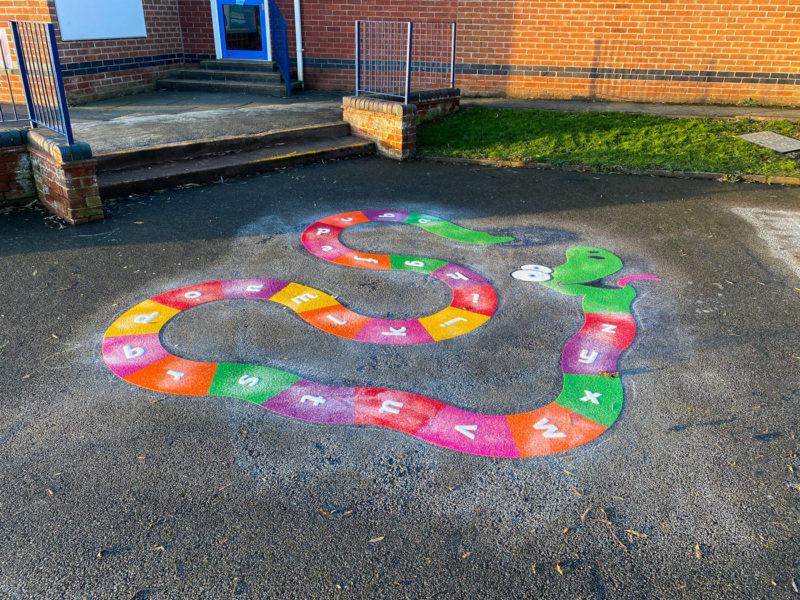 Wymondham-C-of-E-Primary-School-A-Z-Snake-Playground-Marking-Leicestershire