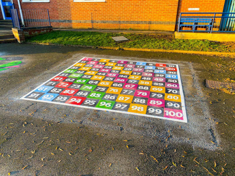 Wymondham-C-of-E-Primary-School-Every-Other-1-100-Number-Grid-Playground-Marking-Leicestershire